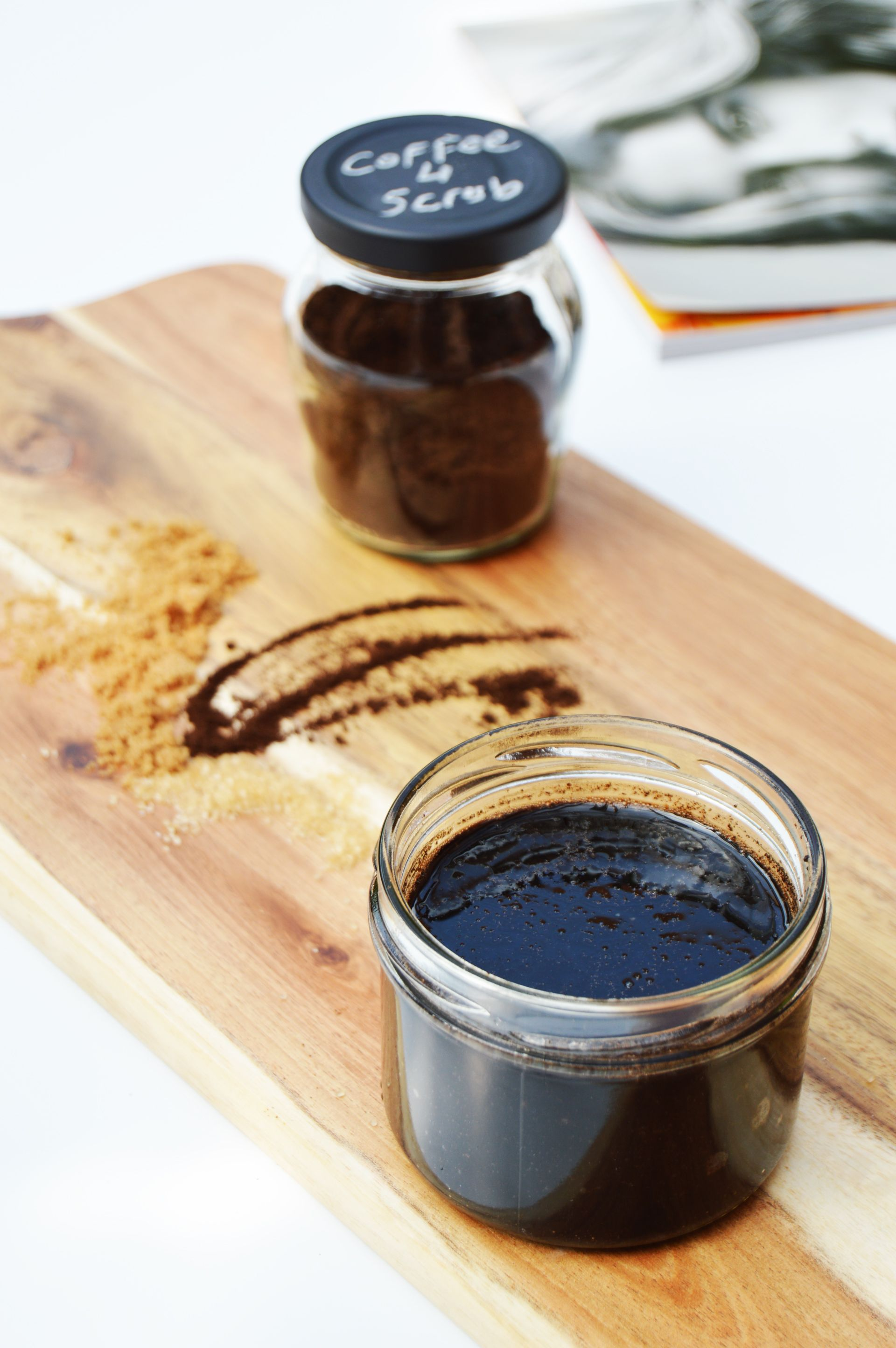 Easy DIY coffee scrub, all you need is 4 ingredients. Mixture of coconut and coffee smell is divine and with this mixture, you will be left with a soft and hydrated skin.